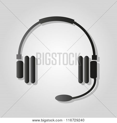 Headphones With Shadow Monochrome Symbol On A Light Background