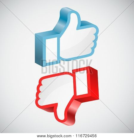 Like and dislike hands vector