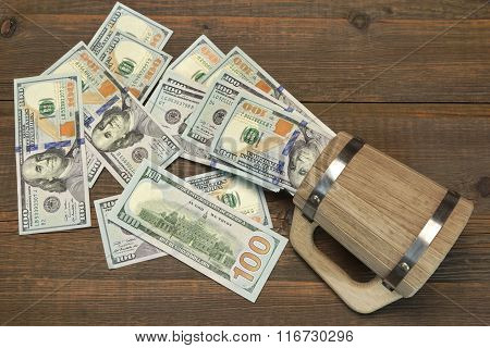 American Dollar Bills In The Wood Bear Mug