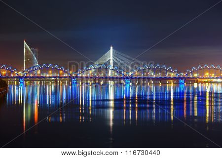 General View On Riga Keypoints And Daugava River, Latvia