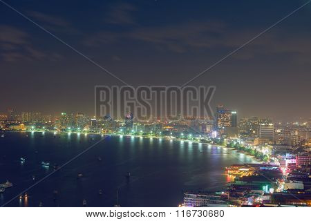 City Of Life At Pattaya Beach,twilight Scene.