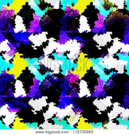 Psychedelic Abstract Color Seamless Geometric Background Vector Illustration