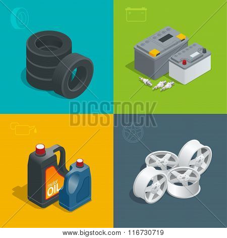 Tire service car auto, repair icons flat 3d set isolated vector isometric illustration. Consumables