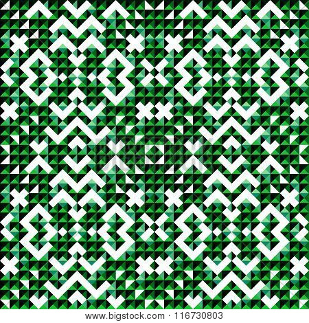 Small Green Colored Pixels Beautiful Abstract Geometric Background Seamless Pattern