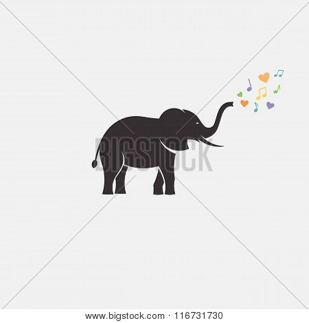 elephant love minimal silhouette