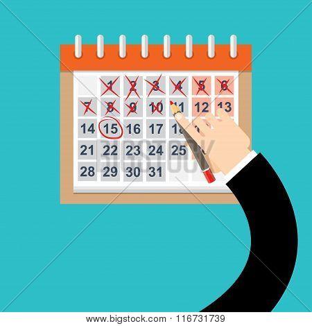 Businessman hands mark on the calendar, VECTOR