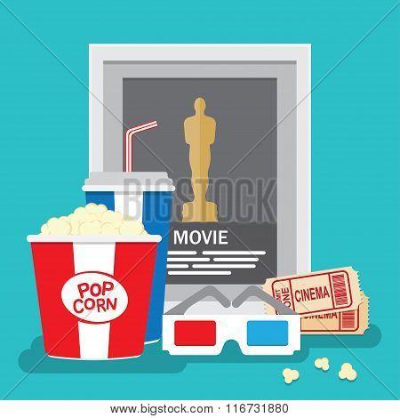 Set of movie design elements flat style.