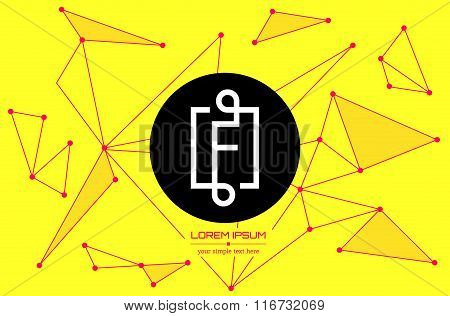 Abstract concept creative vector letter F. Colorful app logo icon element isolated on background. Ar