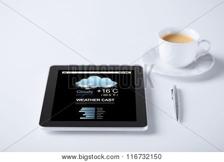 tablet pc with weather forecast and cup of coffee