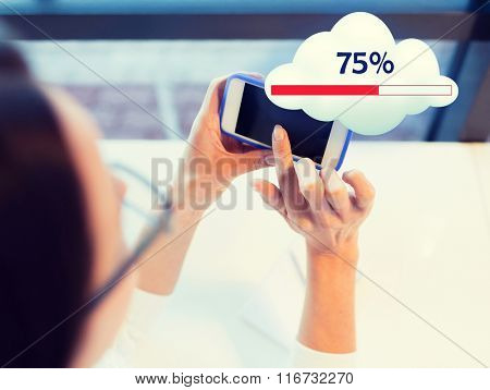 close up of woman with smartphone cloud computing