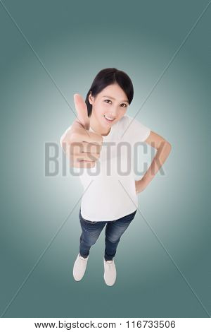 excellent, Asian woman give you a sign. High angle picture.