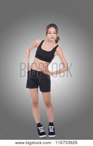 Sport girl of Asian doing stretch exercise, full length portrait isolated on white background.