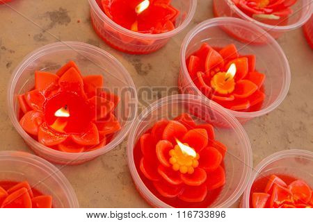 Red Lotus Shape Candles
