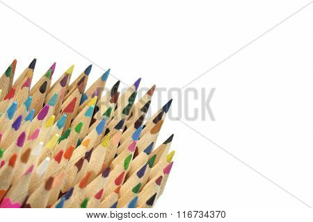 Large Group Of Colored Pencil Isolated On White