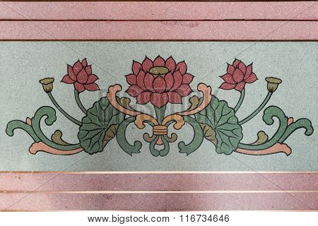 Art Chinese Style Painting On The Temple Wall, Chinese Lotus Painting On Chinese Temple Wall