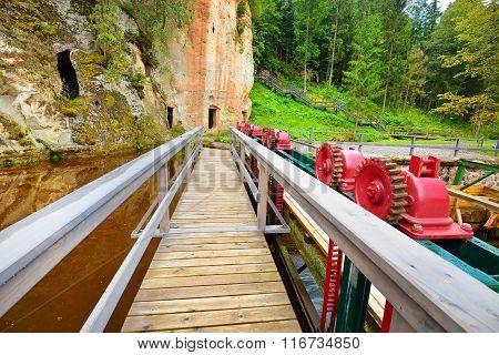 Wooden bridge to caves In Ligatne, Latvia