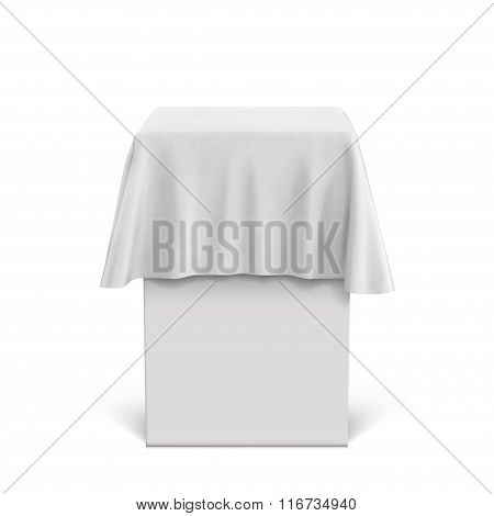 Presentation Pedestal Covered With A White Silk Cloth