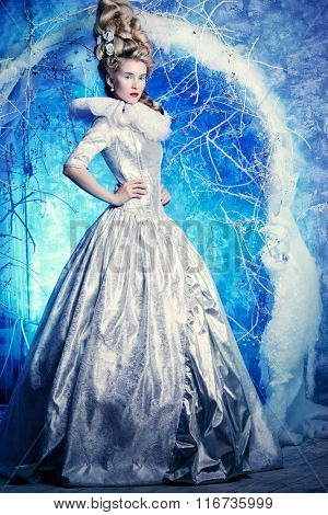 Fairy Ice Queen in elegant silver and white dress standing in a magic winter forest. Beauty, fashion.