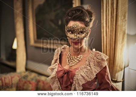 Masked girl at the party