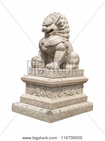 Chinese Imperial Lion Statue, Isolated With Clipping Path