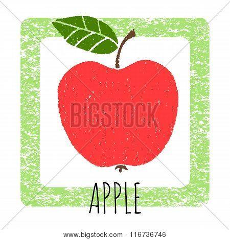 Icon Apple Cute Hand-drawn. Vector Illustration.