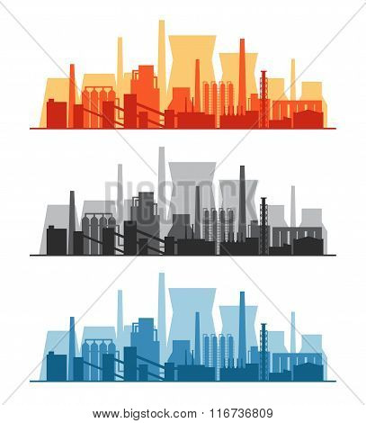 Vector banner with power plants, factories and refineries