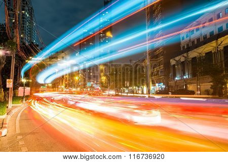 Bangkok Cityscape Of Light Trails