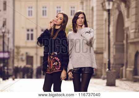 Two Fashion Models Posing