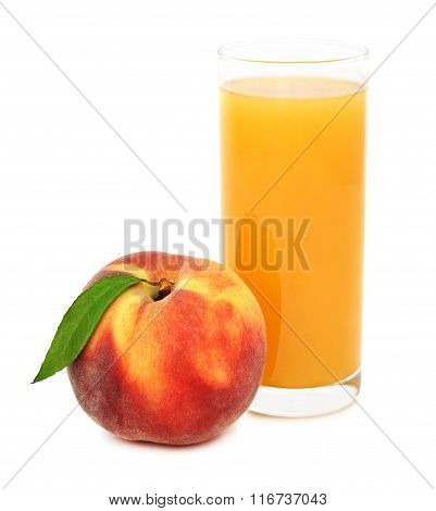 Glass With Peach Juice (isolated)