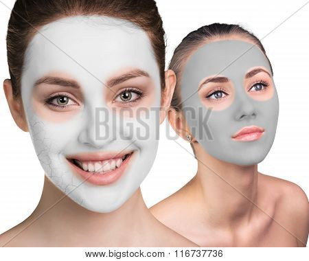 Young woman with clay face mask
