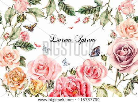 Beautiful watercolor card with peony flowers, roses. Butterflies and plants.