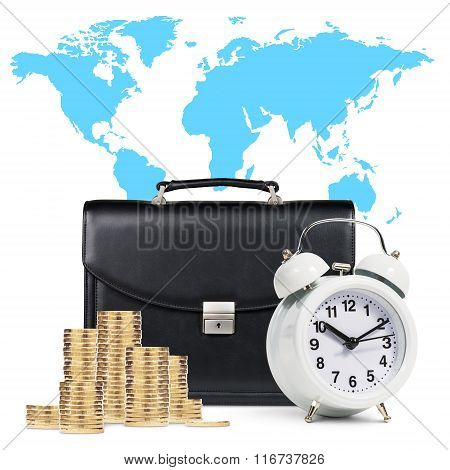 Alarm clock,  briefcase, coins , map isolated