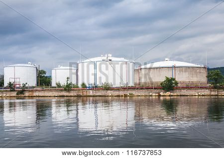 Oil Storage Area, White Tanks On Black Sea Coast