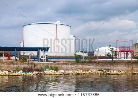 White Oil Tanks On Black Sea Coast In Varna Port