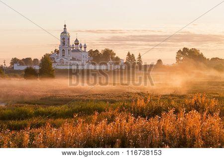 Orthodox Monastery At Sunrise The Morning Mist