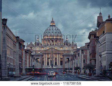 Basilica Of Saint Peter In Vatican At Night