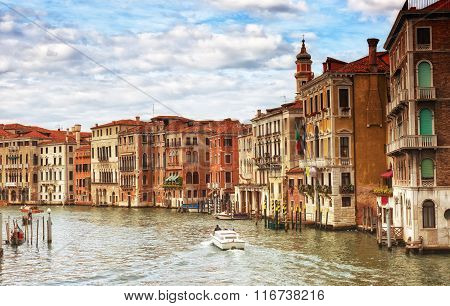 Gondolas And Boats In The Grand Canal, Venice