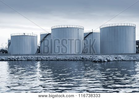 Shining Oil Tanks On The Sea Coast In Varna Port