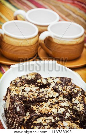 Chocolate Cake And Three Cups, Picnic Theme