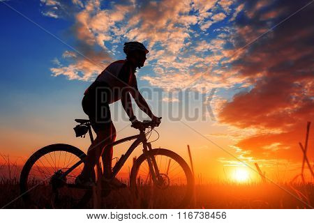 biker in autumn on a sunny afternoon