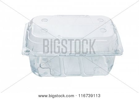 Empty Transparent Plastic Container on White Background