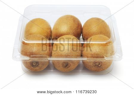 Fresh Kiwi Fruits in Plastic Container on White Background