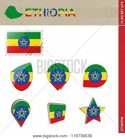 Ethiopia Flag Set, Flag Set #75