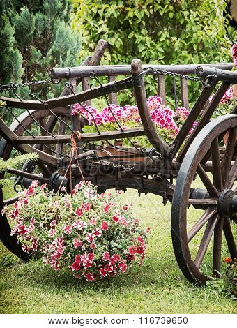 Wooden Cart With Summer Flowers, Detail Scene