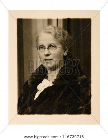 Vintage Photo: Elderly Woman Posing In Studio