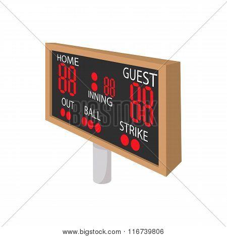 Baseball scoreboard cartoon icon