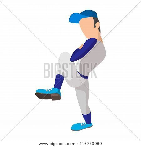 Baseball pitcher cartoon icon