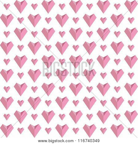 Seamless Geometric Pattern With Hearts. Vector Repeating Texture. Stylish Valentines Background.