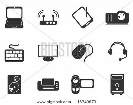 Computer equipment simple vector icons