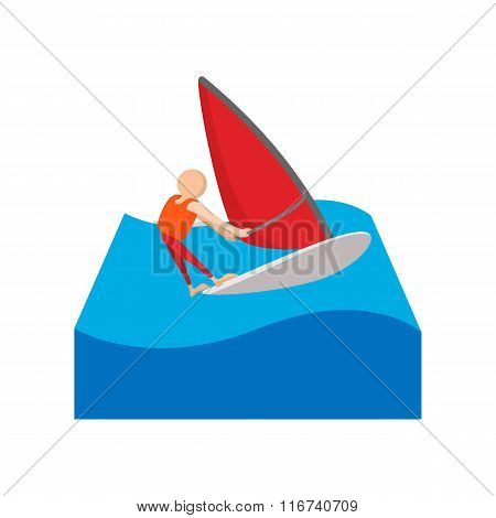 Sailing yacht race cartoon icon
